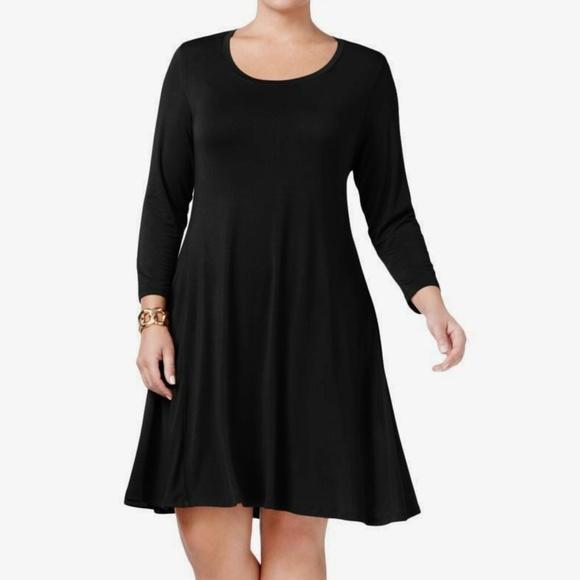 Style & Co Black Swing Dress Stretch Plus Size 1X NWT